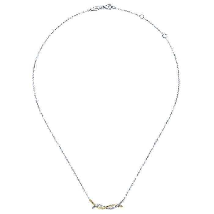 14K Yellow-White Gold Twisted Diamond Bar Necklace