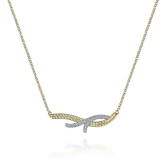 14K Yellow/White Gold Twisted Diamond Bar Necklace