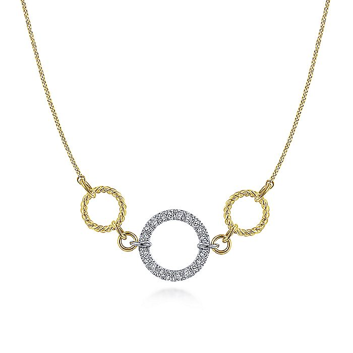 14K Yellow/White Gold Twisted Pavé Diamond Loop Necklace