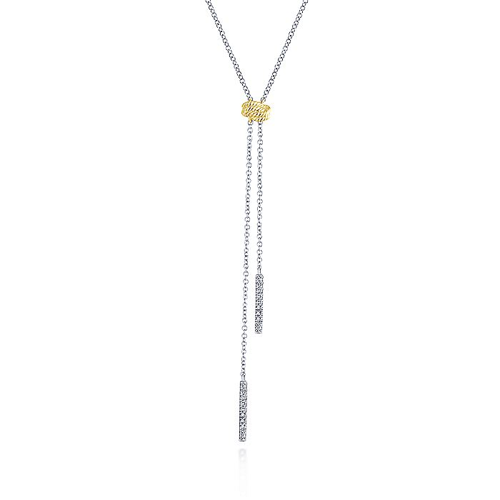 14K Yellow-White Gold Twisted Rope Knot and Diamond Bar Y Necklace