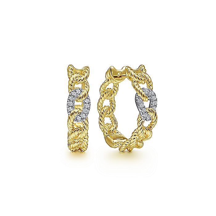14K Yellow-White Gold Twisted Rope Link Huggie Earrings with Diamond Pave