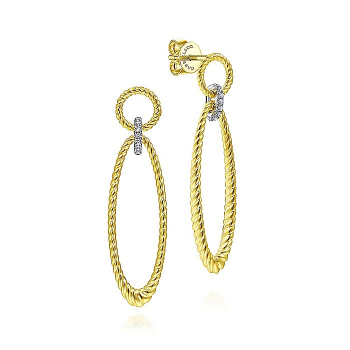 14K Yellow-White Gold Twisted Rope Open Shape Earrings with Diamond Connector