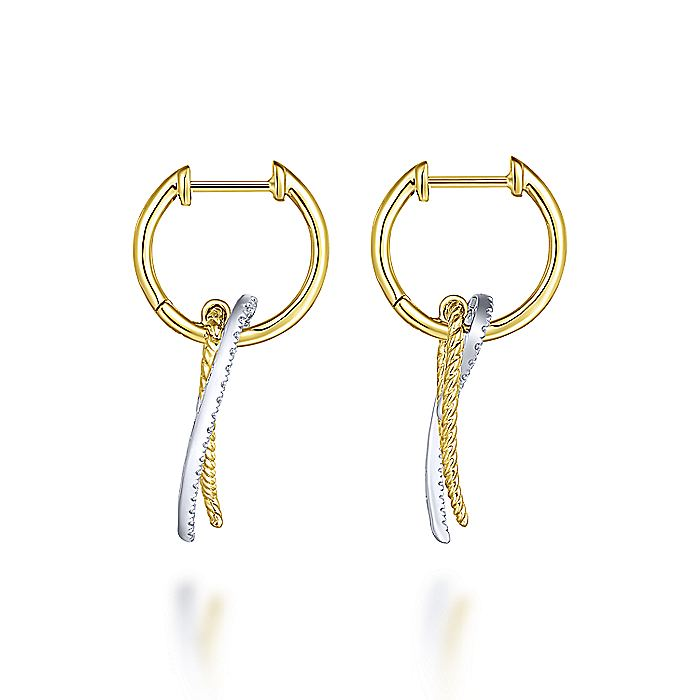 14K Yellow-White Gold Twisted Rope and Diamond Hook Huggie Earrings