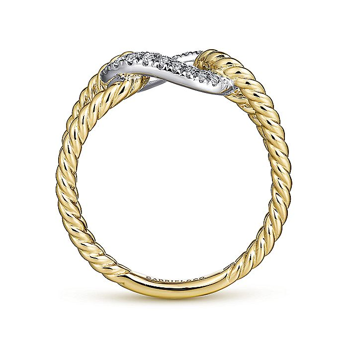 14K Yellow/White Gold Twisted Split Shank Ring