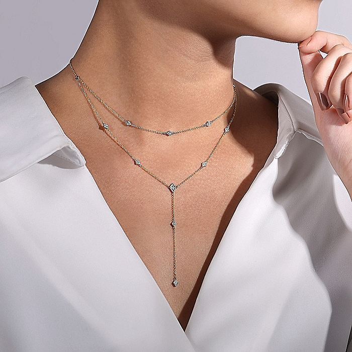 14K Yellow-White Gold Two Strand Diamond Station Y Necklace