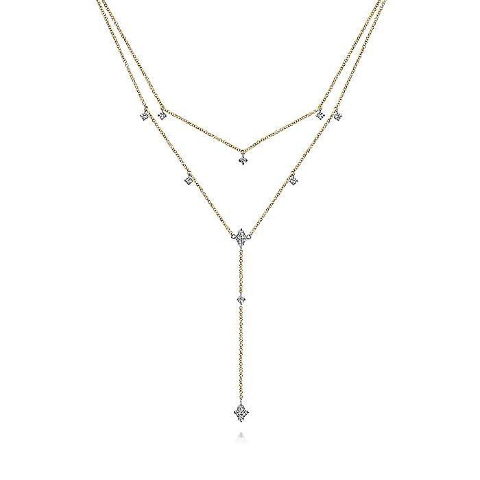 14K Yellow-White Gold Two Strand Filigree Diamond Station Y Necklace