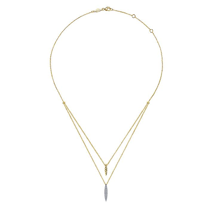 14K Yellow-White Gold Two Strand Necklace with Twisted Rope and Pavé Diamond Spike
