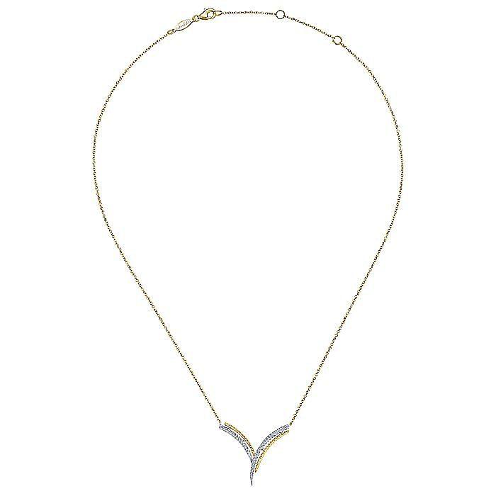 14K Yellow/White Gold V Shaped Diamond Bar Pendant Necklace