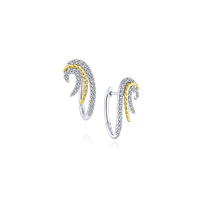 14K Yellow-White Swirling Layered 25mm Diamond Huggie Earrings
