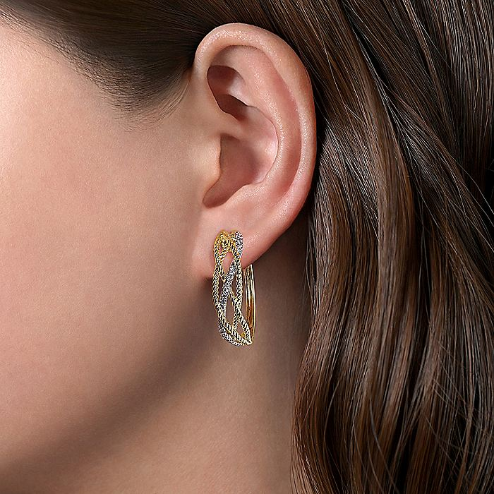 14K Yellow-White Twisted Rope and Diamond Huggie Earrings