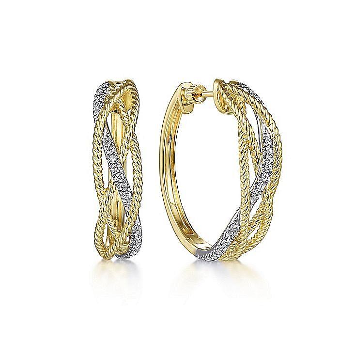 14K Yellow-White Twisted Rope and Diamond Huggies