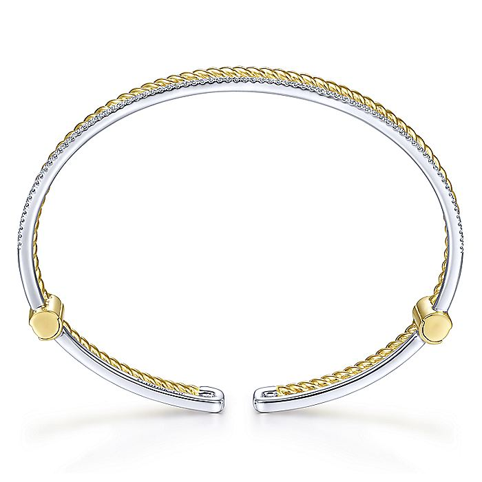 14K Yellow and White Gold Bangle with Diamond Strand