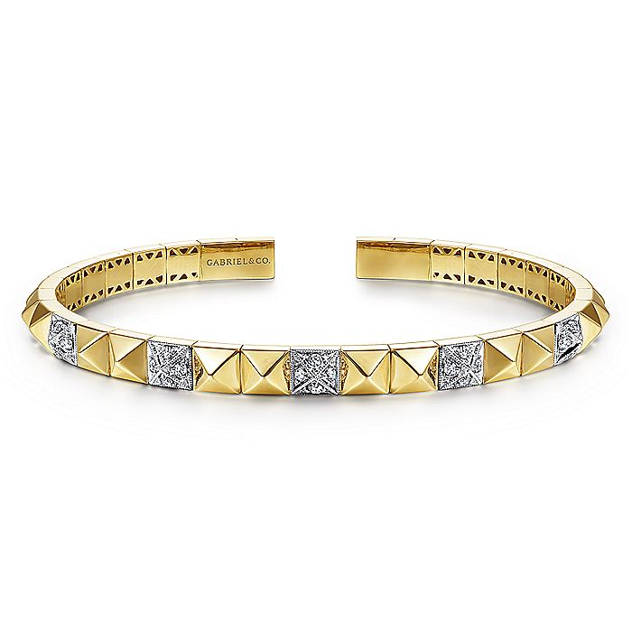 14K Yellow and White Gold Bangle with Pavé Diamonds and Pyramids