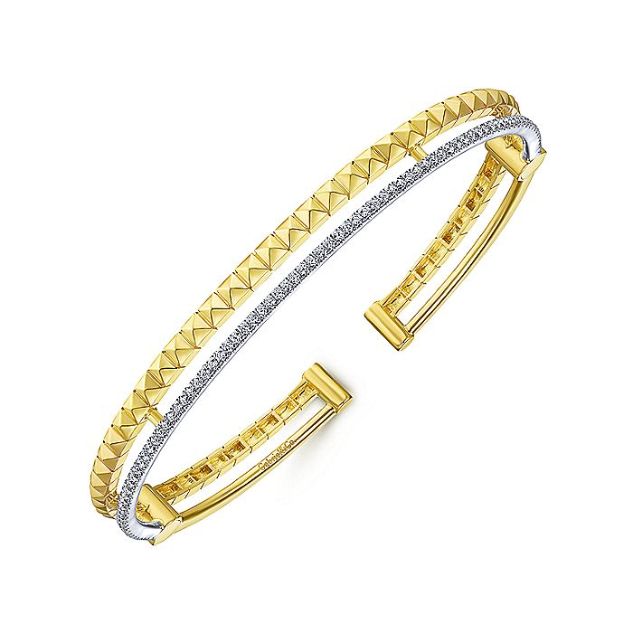 14K Yellow and White Gold Bangle with Pyramids and Diamonds