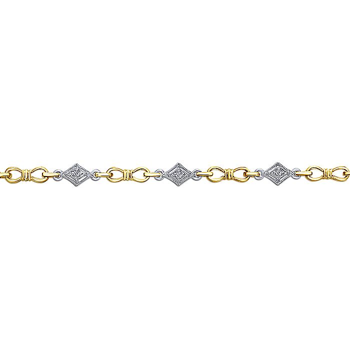 14K Yellow and White Gold Bracelet with Diamonds