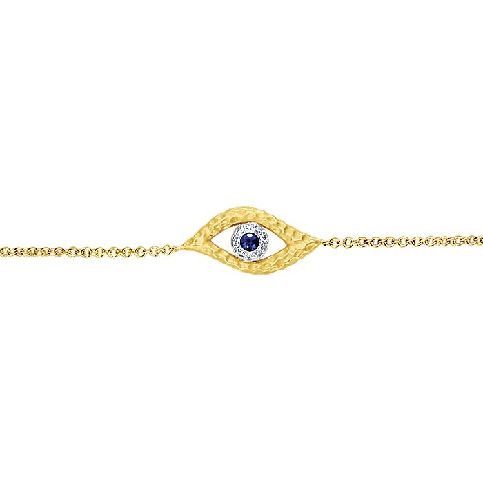 14K Yellow and White Gold Bracelet with Eye Charm and Blue Sapphire with Diamond