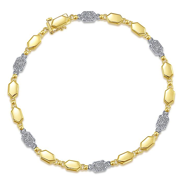 14K Yellow and White Gold Bracelet with Hexagons and Pavé Diamonds