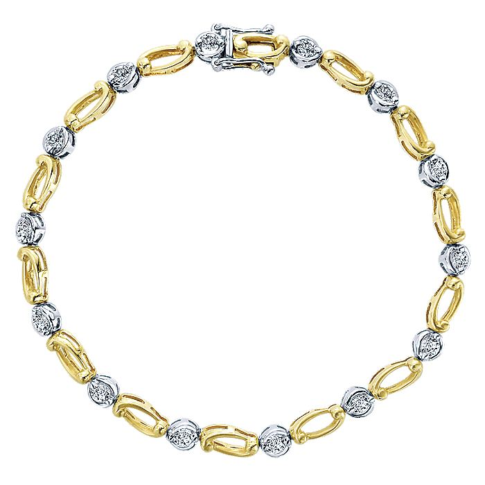 14K Yellow and White Gold Bracelet with Round Diamonds and Gold Ovals