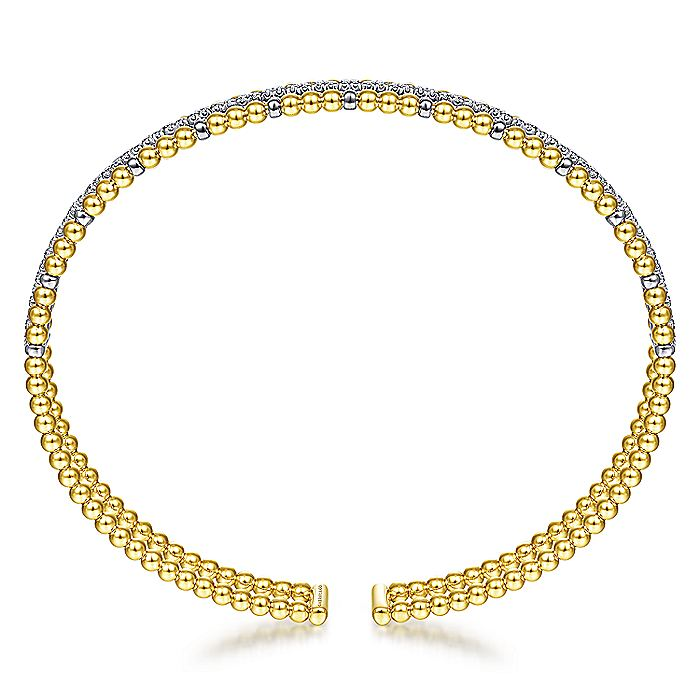 14K Yellow and White Gold Bujukan Bead Cuff Bracelet with Inner Diamond Channel