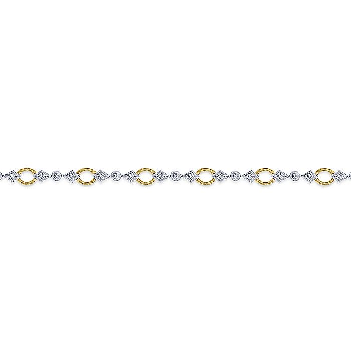 14K Yellow and White Gold Diamond Bangle with Circle and Bow Shapes