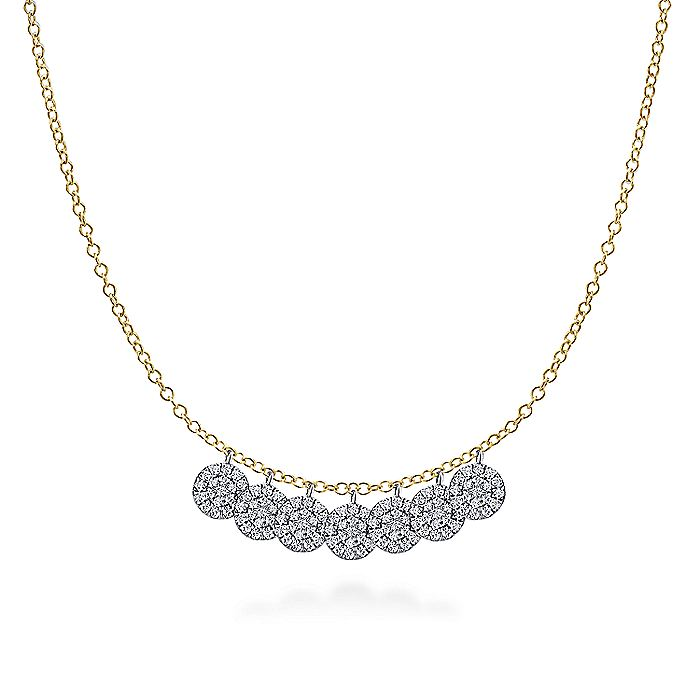 14K Yellow and White Gold Diamond Disc Drop Necklace