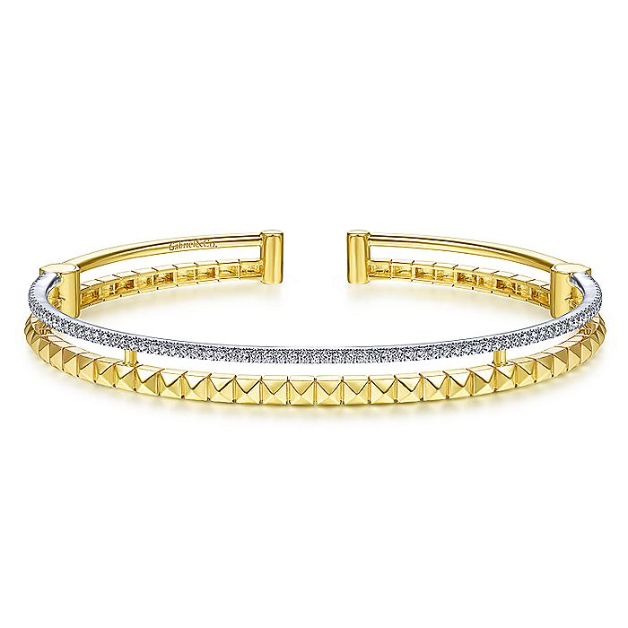 14K Yellow and White Gold Split Cuff with Pyramids and Diamonds