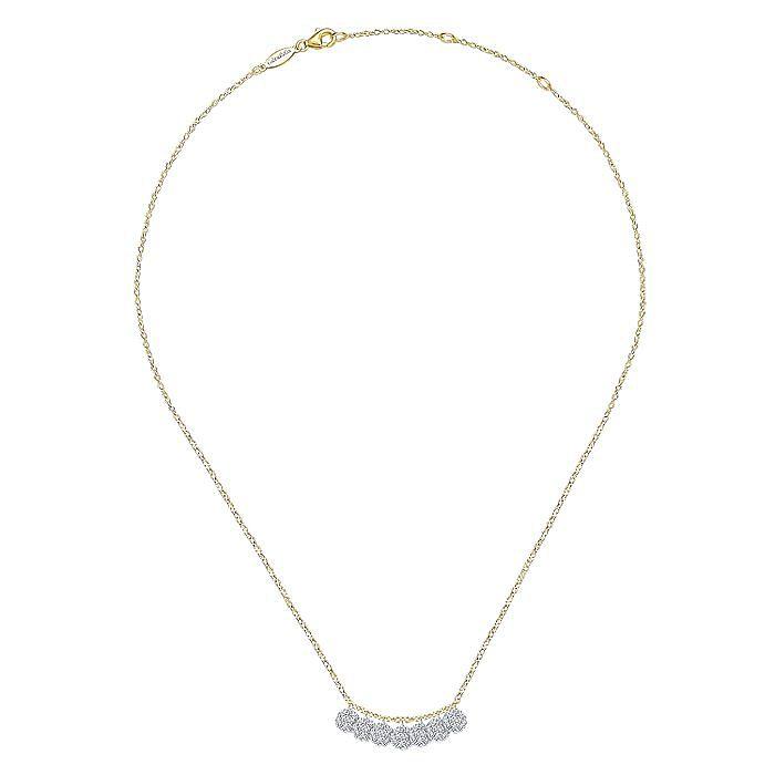 14K Yellow&White Gold Stacked Diamond Disc Necklace