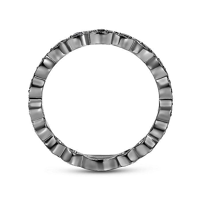 14k Gold With Black Rhodium Black Diamond Fashion Ring