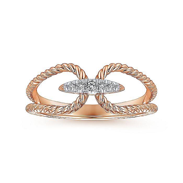 14k Pink Gold Twisted Split Shank Pave Diamond Fashion Ring