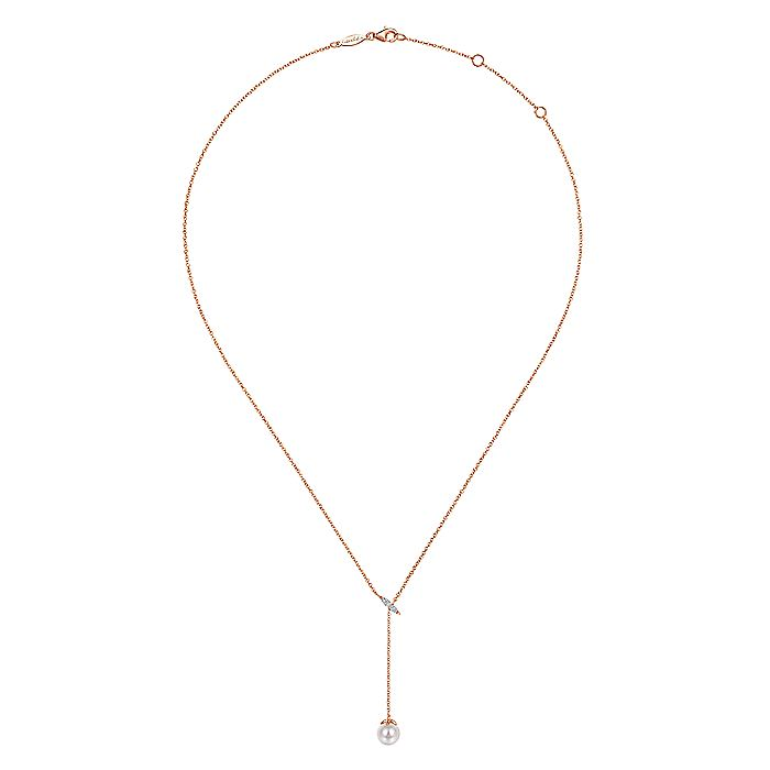 14k Pink Gold Y Knots Cultured Pearl & Diamond Necklace