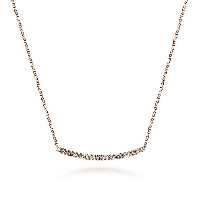 14k Rose Gold Curving Diamond Bar Necklace