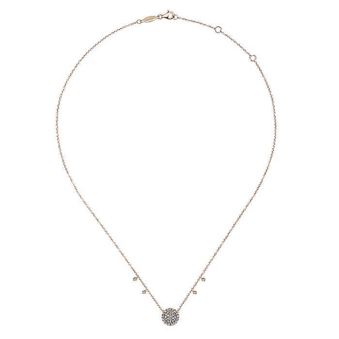 14k Rose Gold Diamond Disc and Charms Fashion Necklace