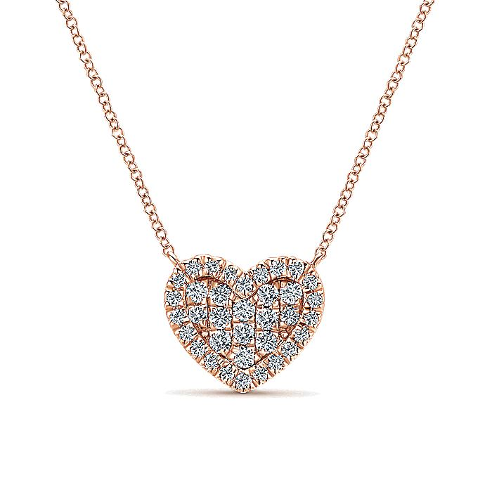 14k Rose Gold Diamond Encrusted Heart Fashion Necklace