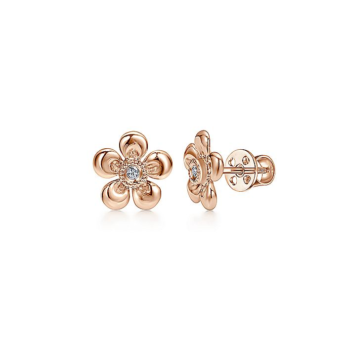 14k Rose Gold Floral Round Diamond Stud Earrings