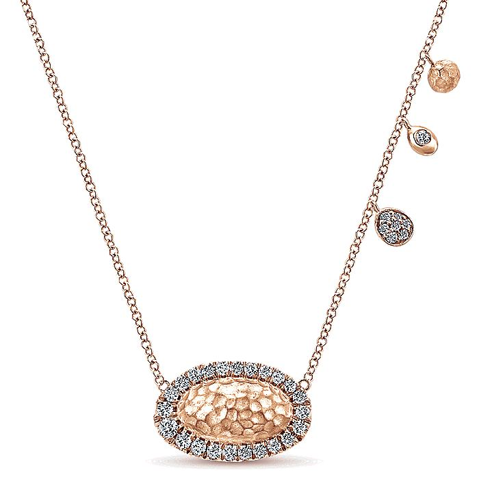 14k Rose Gold Hammered Diamond Pendant Necklace