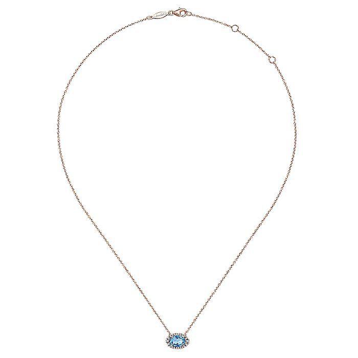 14k Rose Gold Horizontal Oval Swiss Blue Topaz Diamond Halo Fashion Necklace