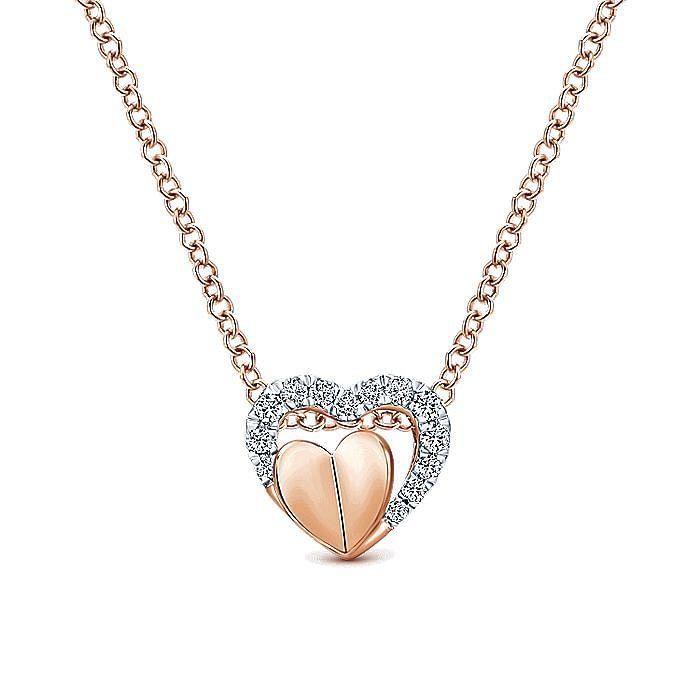 14k Rose Gold Layered Pave Diamond Heart Necklace