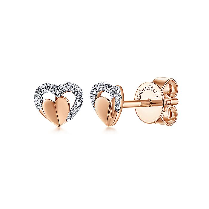 14k Rose Gold Open Heart Layered Diamond Stud Earrings