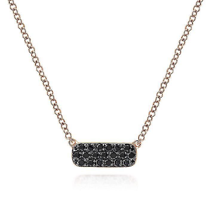 14k Rose Gold Rectangular Black Diamond Bar Fashion Necklace