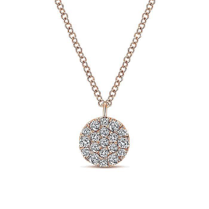14k Rose Gold Round Diamond Disc Fashion Necklace