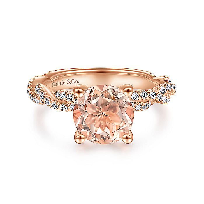 14k Rose Gold Round Morganite and Diamond Twisted Engagement Ring