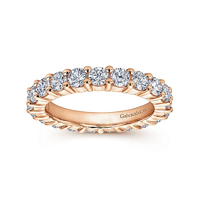 14k Rose Gold Shared Prong Set Eternity Band