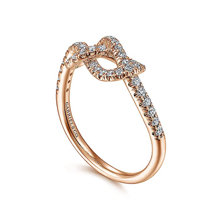 14k Rose Gold Twisted Diamond Knot Eternity Ring