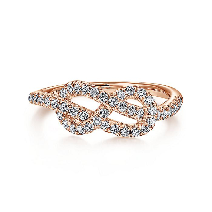 14k Rose Gold Twisted Diamond Knot Ladies Ring