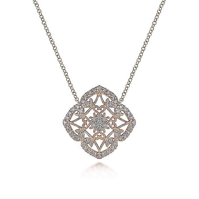 14k Rose Gold Vintage Inspired Openwork Diamond Fashion Necklace