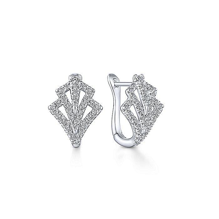 14k White Gold 15mm Cutout Diamond Fan Huggie Earrings