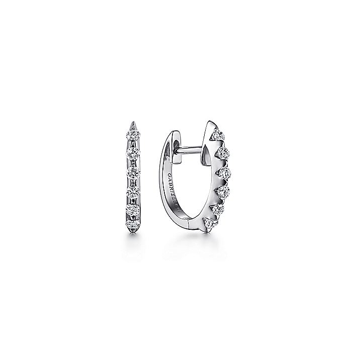 14k White Gold 15mm Slim Scalloped Diamond Huggie Earrings