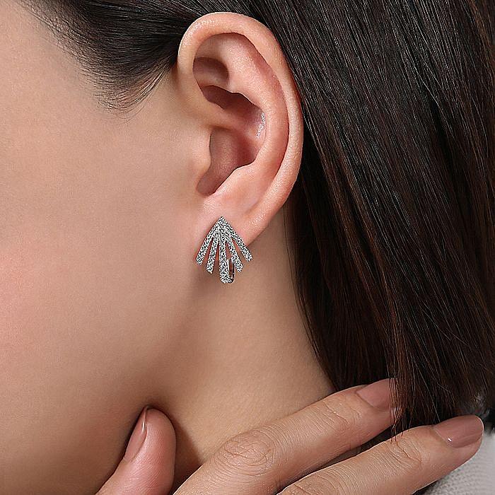 14k White Gold 20mm Fringe Fan Diamond Huggie Earrings