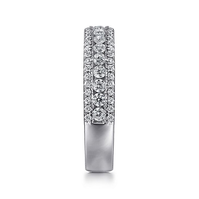 14k White Gold 3 Row Diamond Anniversary Band