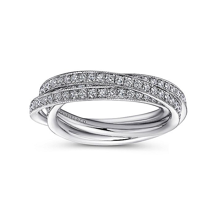 14k White Gold 3 Row Micro Pavé Eternity Band
